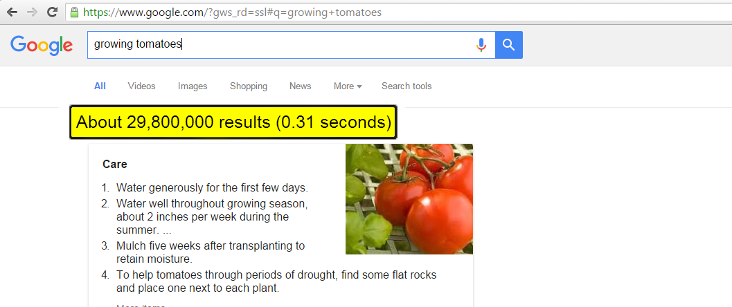 Tomatoes search - Best Question Always Gets the Best Answer